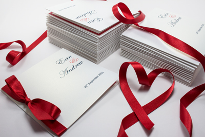 Red, white and navy blue classic bow wedding invitations