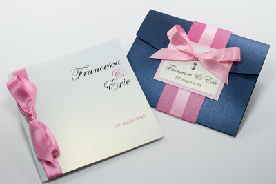 Hot pink, sugar pink, dusky pink and navy blue classic and pocketfold wedding invitations
