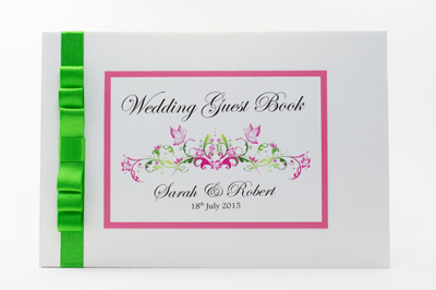 Wedding guest book with monogram of bride and grooms initials