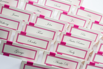 high quality handmade wedding place cards in shocking pink and cream