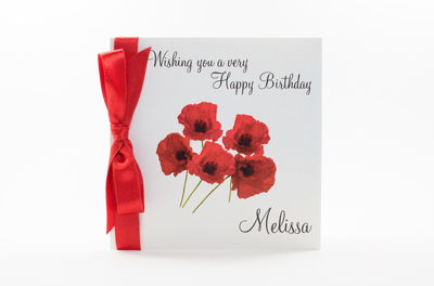poppy birthday card with personalised name and ribbon