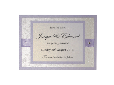 Wedding Save the Date Card Lilac / Light Purple and White Embossed with Butterflies