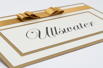 wedding table name cards in antique gold and cream