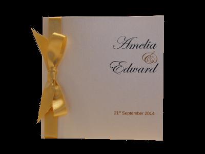 Classic Bow <b>wedding invitation</b> with Topaz satin ribbon and Dolomite card