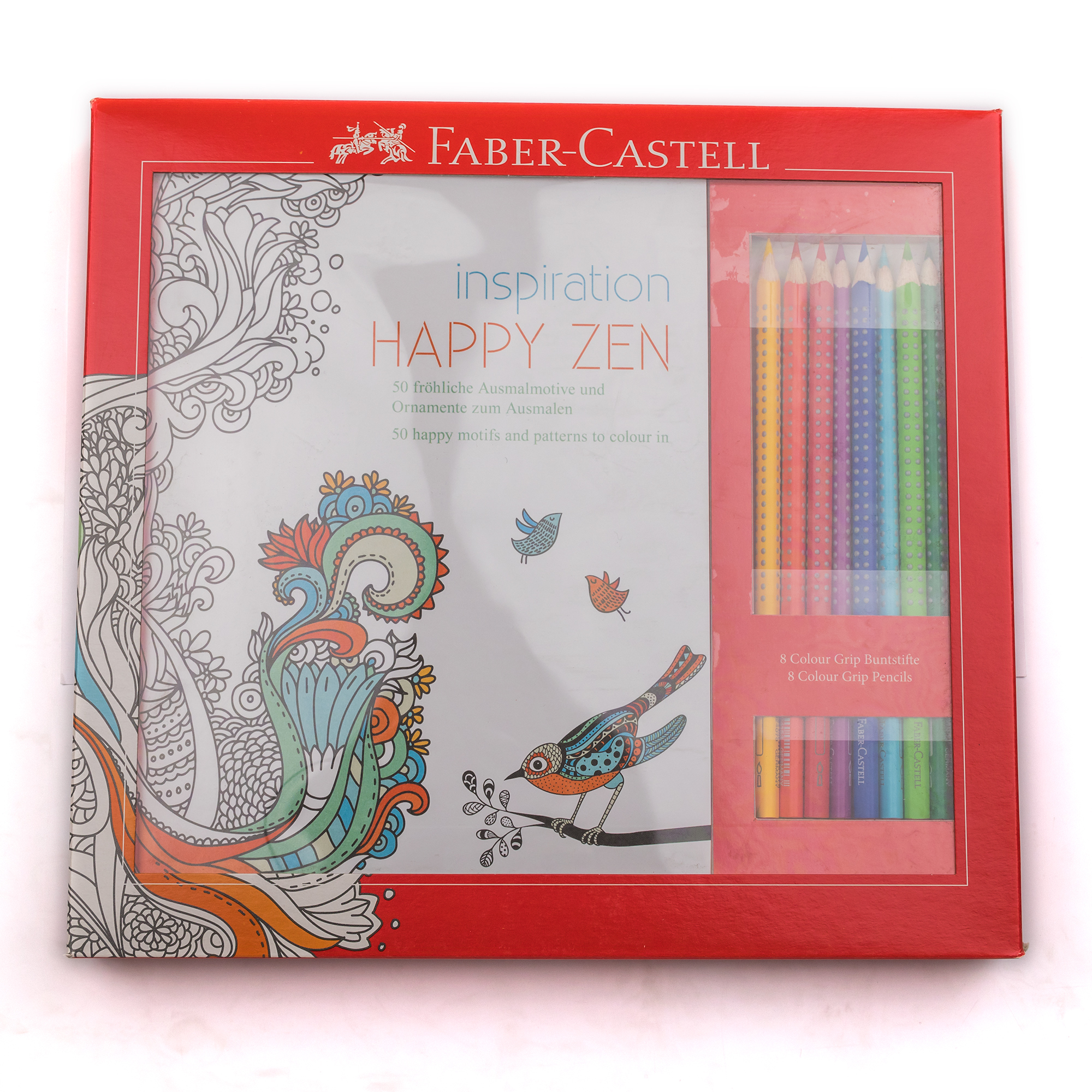 Faber-Castell Inspiration Happy Zen Set Coloring Book and 8 pencils for Adults