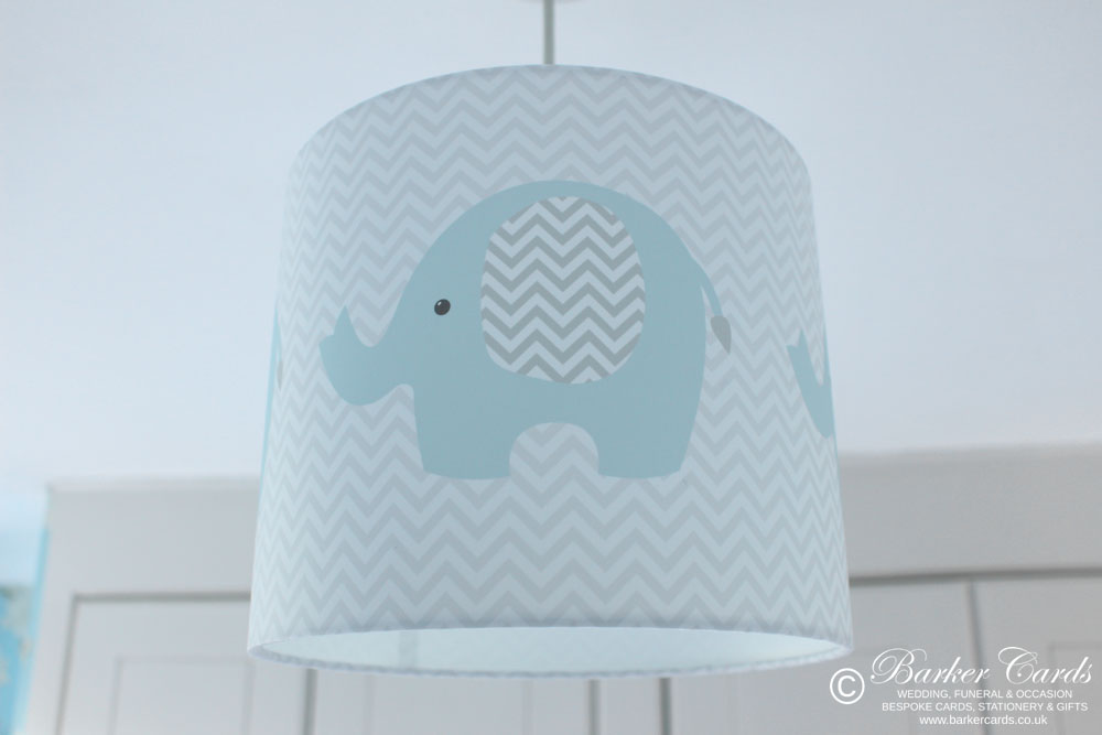 Grey & Baby Blue Nursery Elephant Lampshade Zig Zag