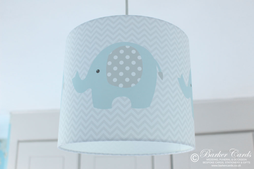 Grey & Baby Blue Nursery Elephant Lampshade
