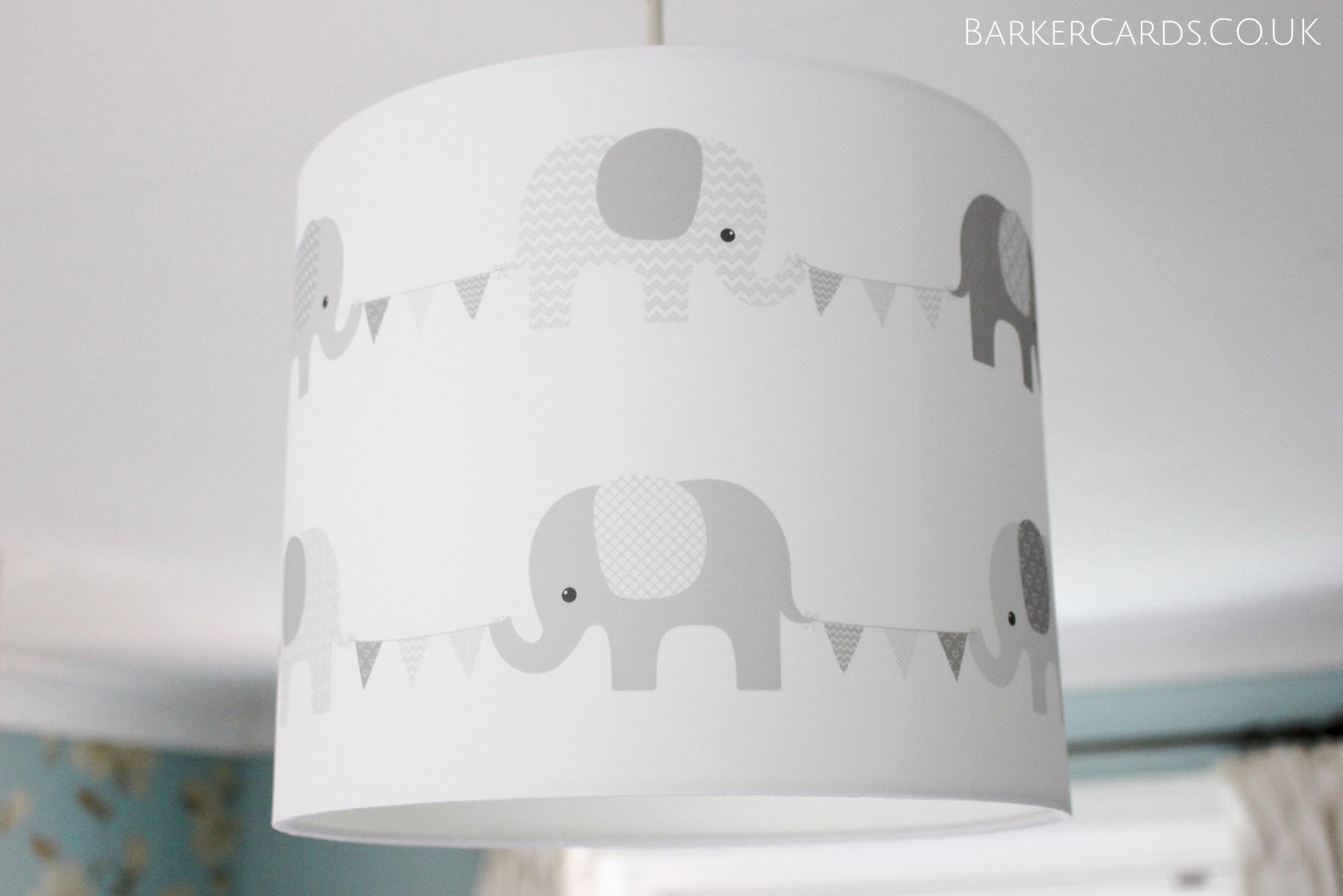 Grey Nursery Elephant Lampshade Plain White Background
