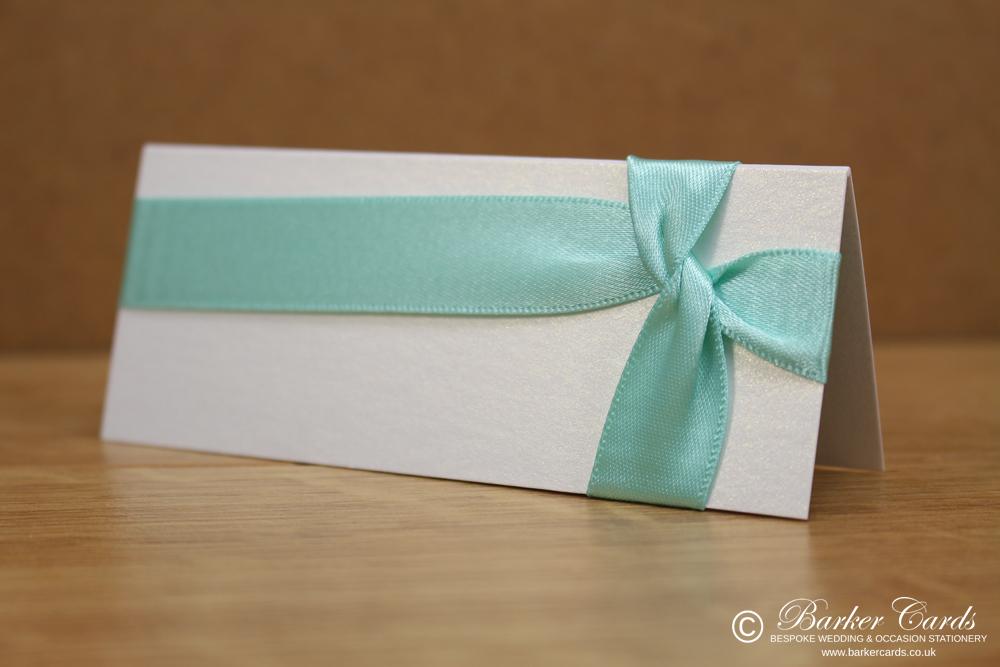 Wedding Place Cards Aquamarine, Grey and White