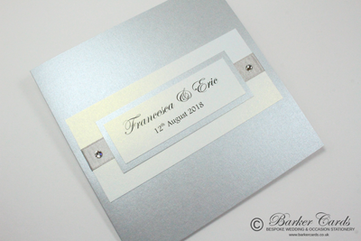 Silver handmade wedding invitations with Swarovski crystal