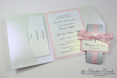 Pink and silver Pocketfold wedding invitations with Swarovski crystals