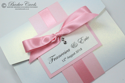 Blush pink handmade pocketfold wedding invitations  with Swarovski crystals