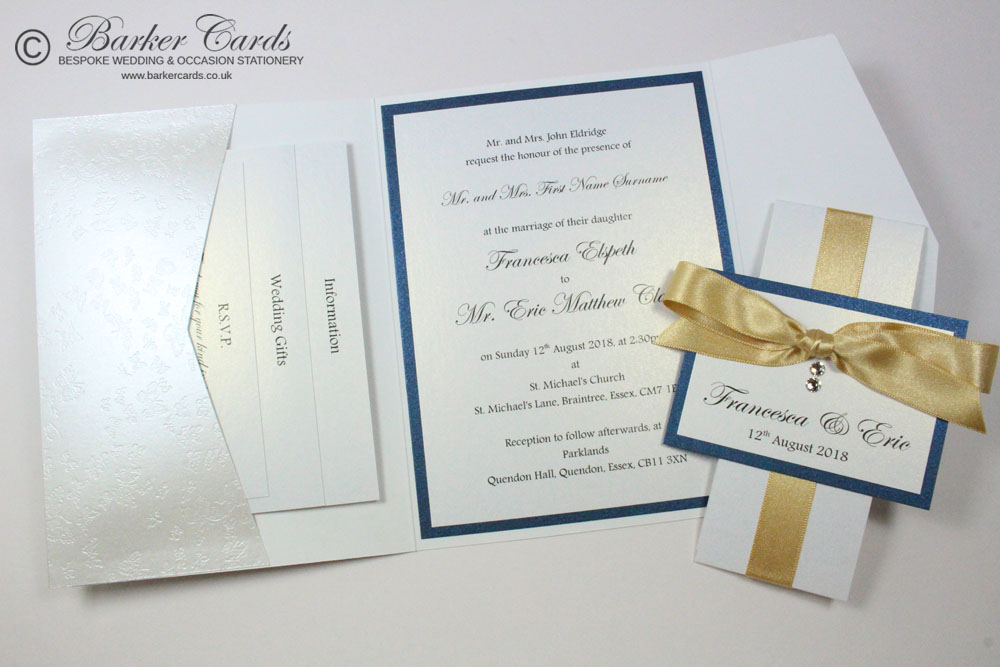 White Pearlescent Pocketfold Invitation
