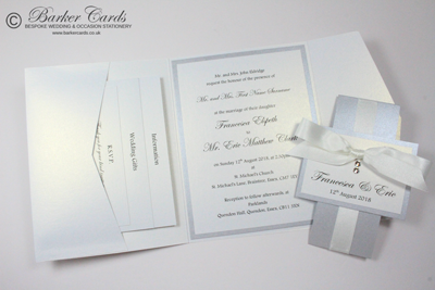 Free silver and white Pocketfold wedding invitation samples