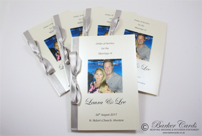 Wedding orders of service with photograph