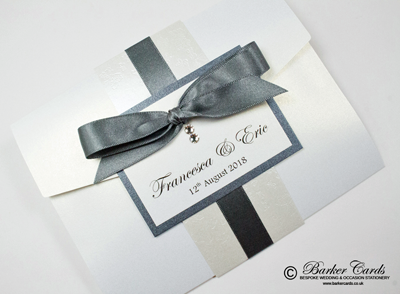 Smoked grey and white Pocketfold wedding invitations with butterflies