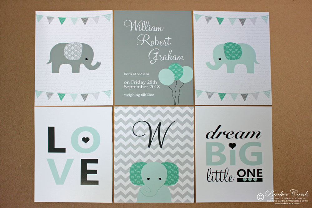 Mint Green and Grey Elephant Wall Prints for Baby's Nursery, Kids or Children's Bedrooms. New Baby Gift