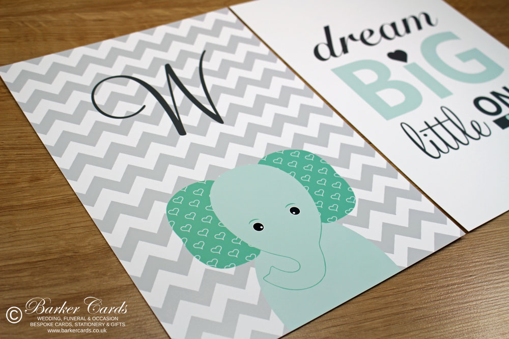 Mint Green and Grey Nursery Elephant Wall Print