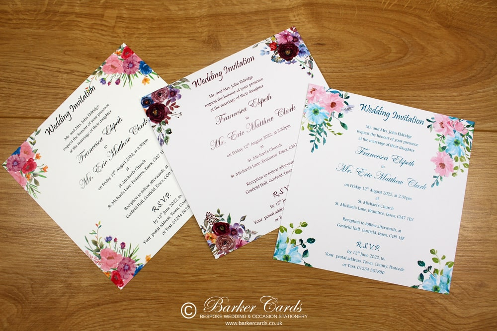 Sample of Water Colour Wedding Invitation Collection