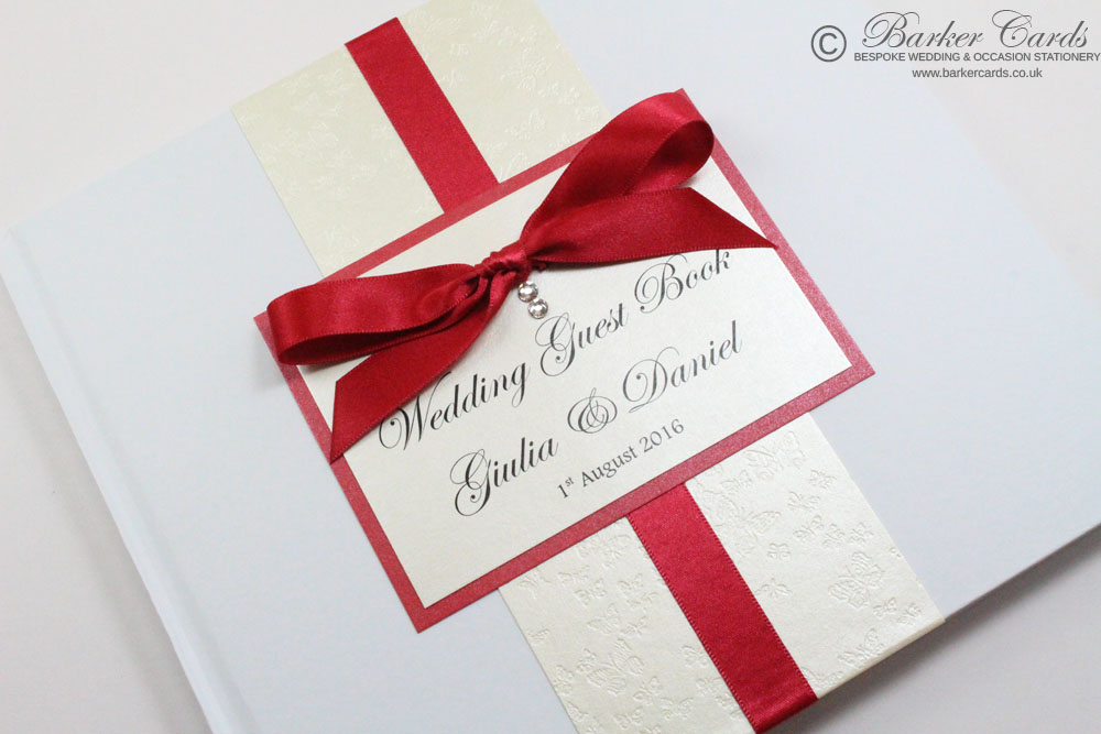 Wedding Guest Book Cream embossed with butterflies (available in all colours)