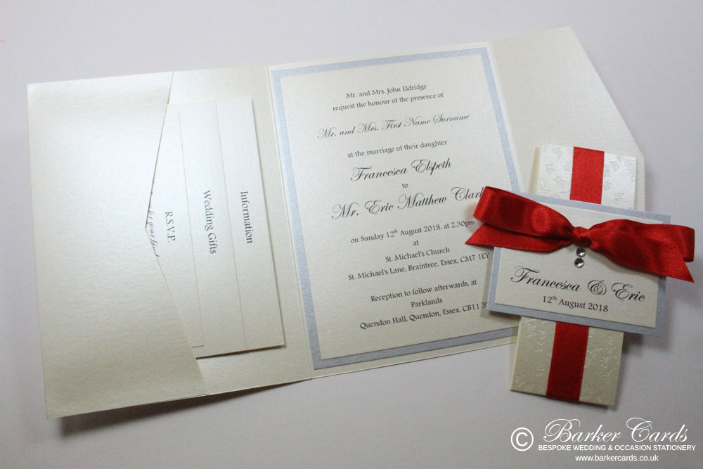 Wedding Invitation Pocketfold - Poppy Red | Bright Red and Silver ...