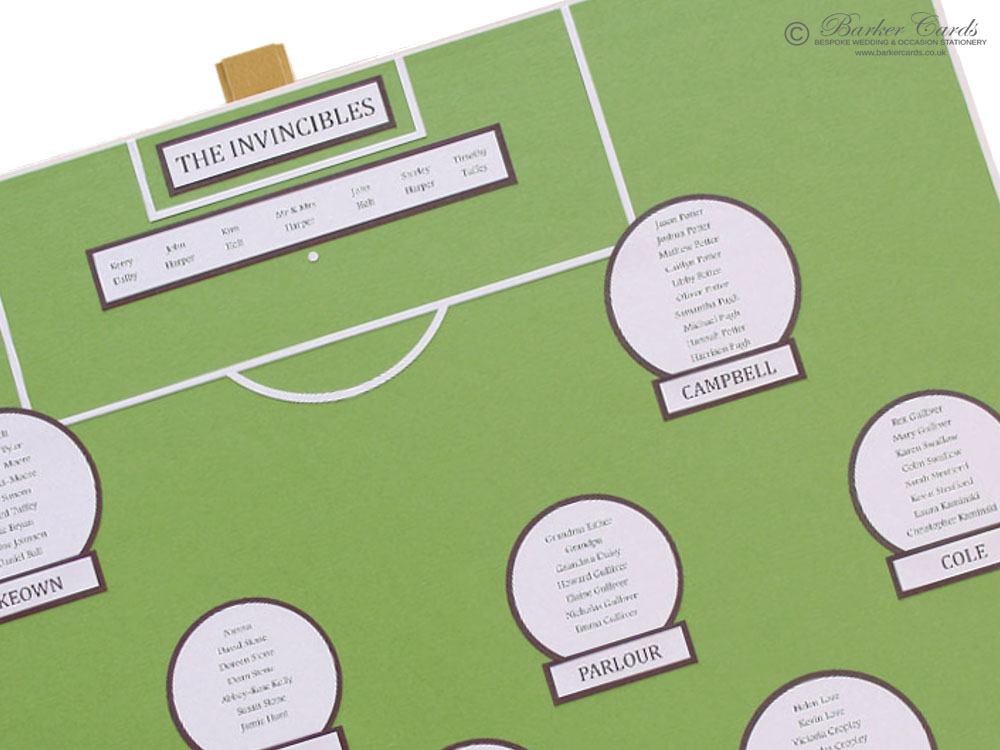 Football Pitch Wedding Table Plan Ideas