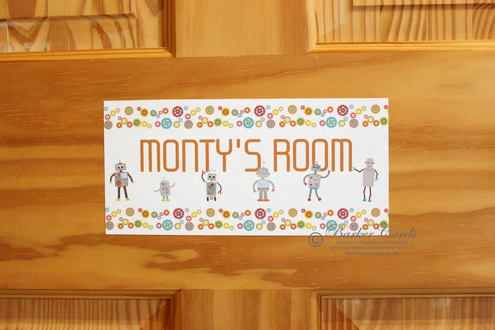 Robot childrens bedroom door sign