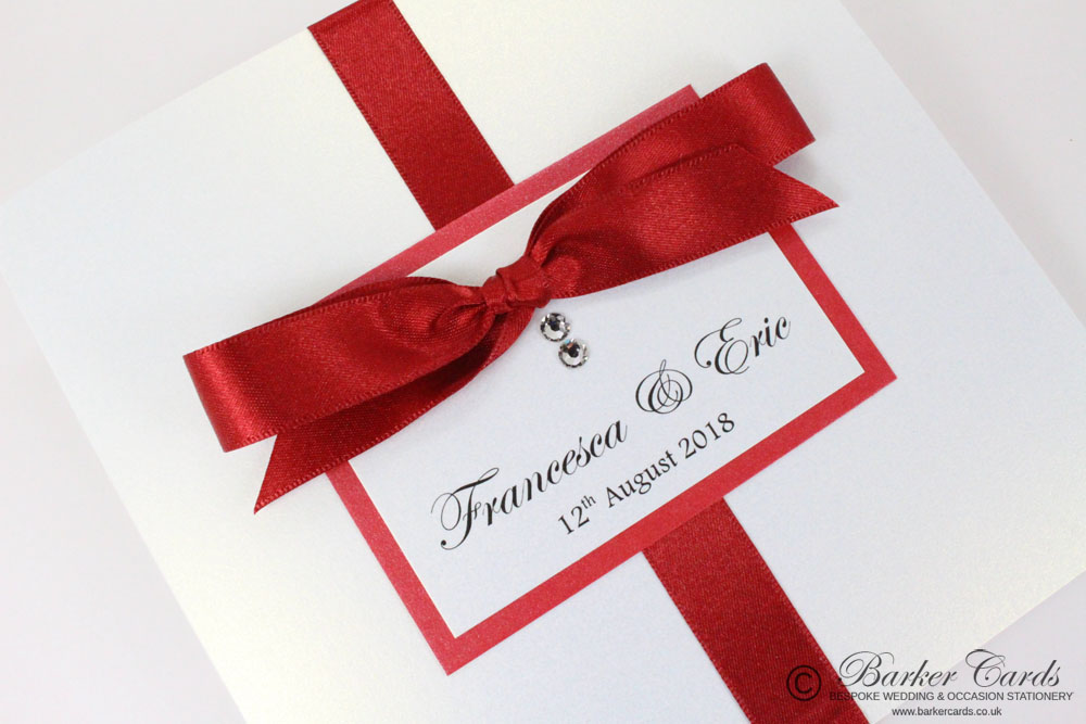 White And Red Wedding Invitations: Barker Cards, Supplier Of Beautiful Handmade Wedding