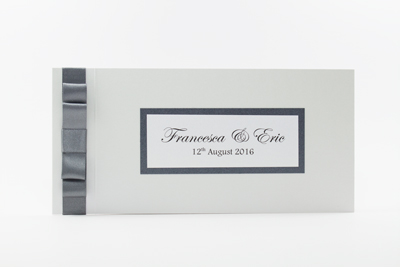 Cheque Book Invitation grey