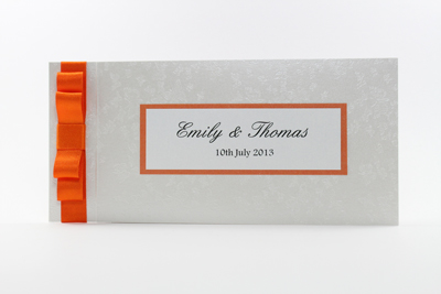 Wedding Invitation Cheque Book Style Orange