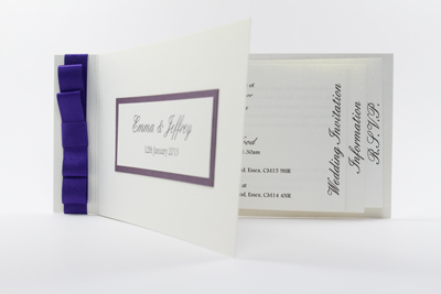 Cheque Book Design Wedding Invitation cadbury purple