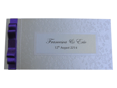 Cheque book wedding invitations sample made using elegant Cream Butterfly Embossed card and Purple ribbon