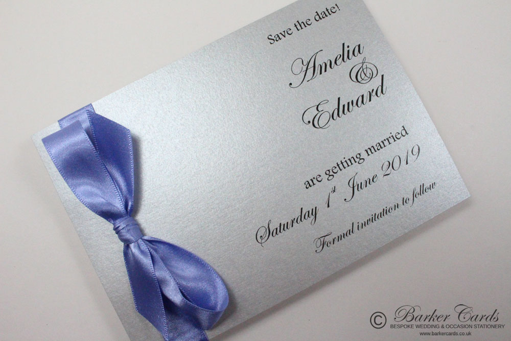 Wedding Save the Date Card - Fairy Tale Wedding - Silver and Purple