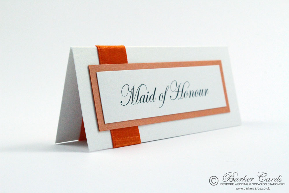 Wedding Table Place Cards - Burnt Orange and White.