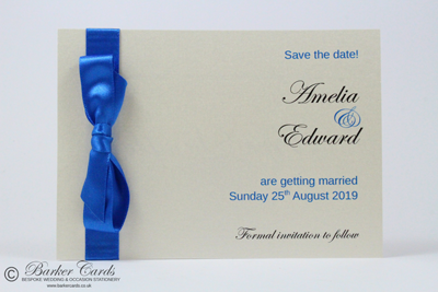 Wedding Save the Date Card Dark Royal / Cobalt Blue and Cream / Ivory