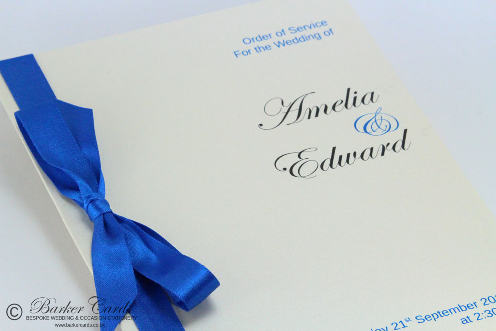 Wedding Orders of Service - Blue and Cream / Ivory.