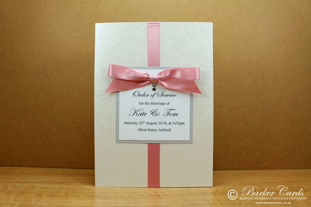 Wedding Orders of Service  Dusky Pink and Silver with white embossed with butterflies