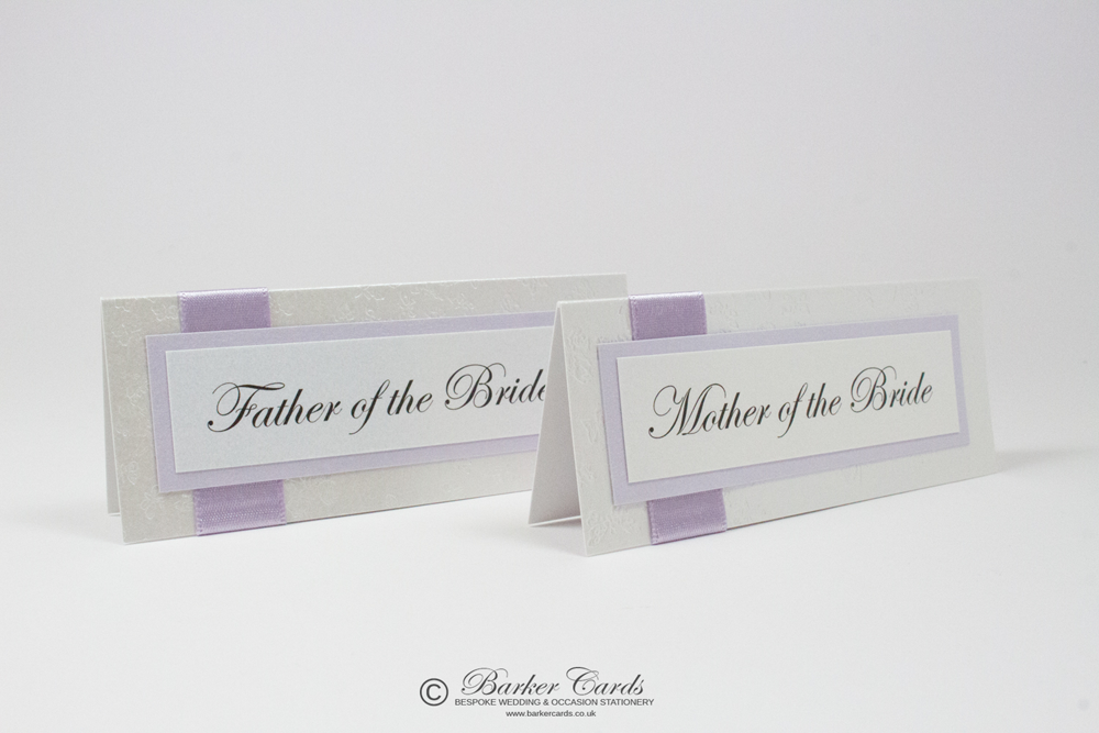Wedding Place Cards Lilac and White
