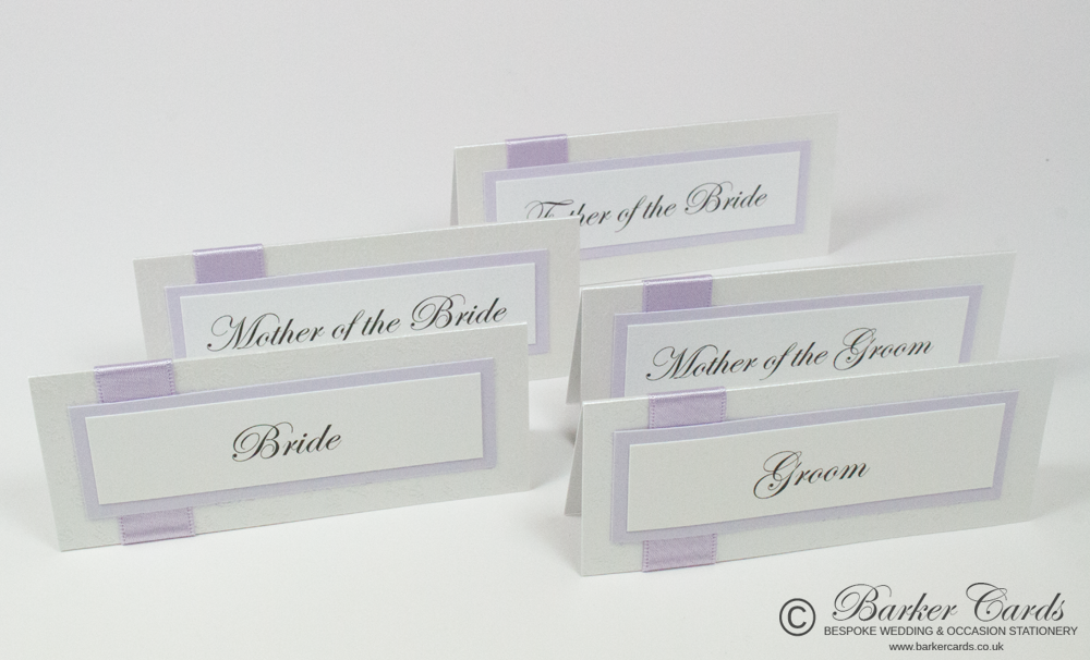 Wedding Place Cards Pale Purple and White