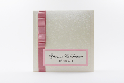 Enchanting Wedding Invitation Dusky Pink / Baby Pink / Pale Pink and Cream / Ivory Embossed with Butterflies
