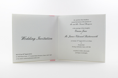 Enchanting Wedding Invitation Blush Pink / Light Pink / Pale Pink and White Embossed with Butterflies
