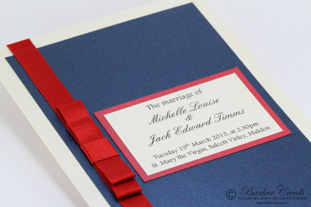 Wedding Orders of Service  Enchanting Collection Dark Navy Blue and Ivory / Cream  with Bright Red Ribbon