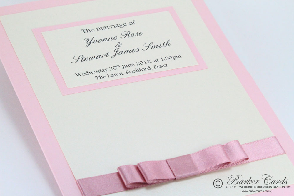 Wedding Orders of Service  Graceful Collection Blush Pink / Dusky Pink and Cream / Ivory