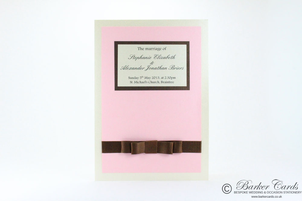 Wedding Orders of Service  Graceful Collection Blush Pink / Light Pink, Ivory / Cream and Dark Brown / Bronze