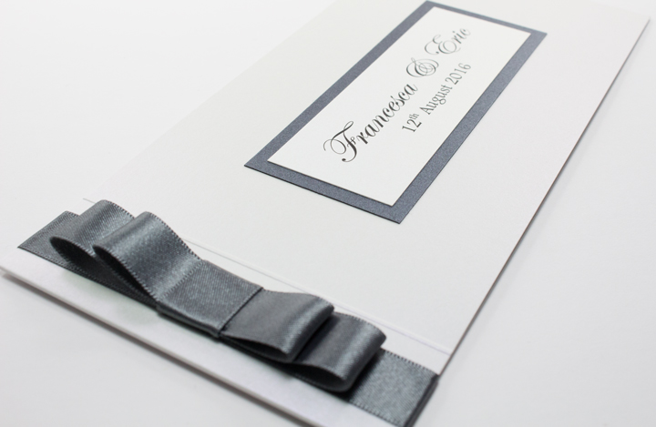 Grey and white cheque book wedding invitations