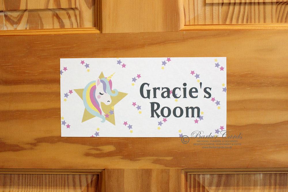 Unicorn Stars Childrens Bedroom Door Sign Ideal For