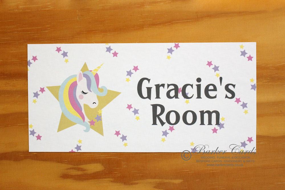 Unicorn stars childrens bedroom door plaque