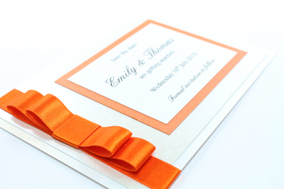 Wedding Save the Date Card  Enchanting Collection Bright Orange and White Embossed with Butterflies