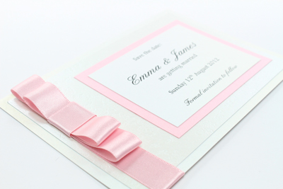 Wedding Save the Date Card  Beautiful Beau Collection Blush Pink / Light Pink / Baby Pink and White Embossed with Butterflies