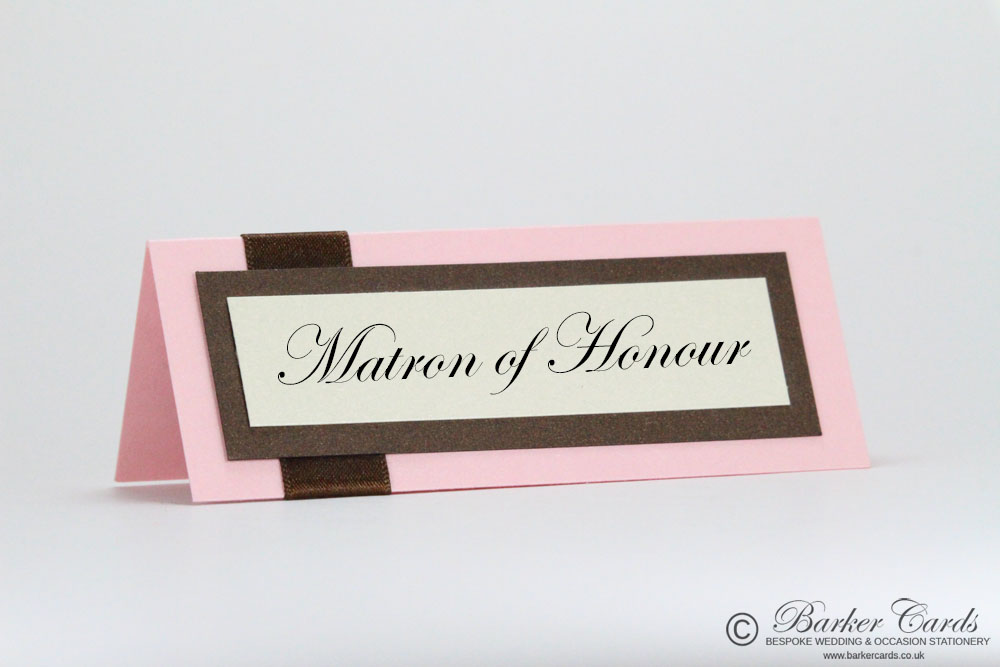 Wedding Place Cards Blush Pink / Baby Pink and Bronze / Hot Chocolate Brown
